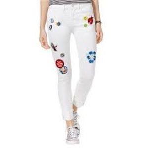 Junior Indigo Rain White Jean Patches Pants 0
